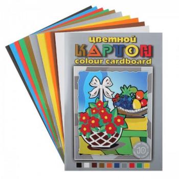 Набор цветного картона А3 10л 10цв в пап..