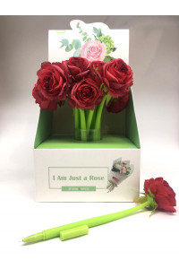 """Гелевая ручка синяя 0,5мм,  """"РОЗА""""; прорезиненный корпус зелёного цвета, накончник-роза (16)"""