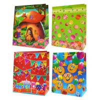 Пакеты бумажные подарочные (18х23) 12шт. Ч07189